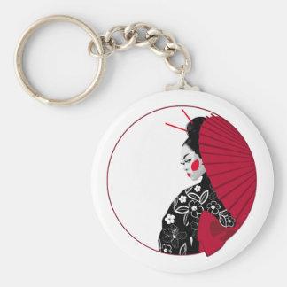 Geisha Basic Round Button Keychain