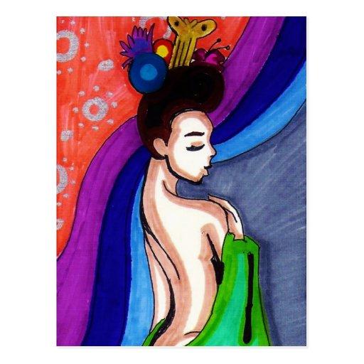 Geisha Behind the Curtain Post Card
