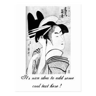 Geisha blanco negro oriental fresco tarjeta postal
