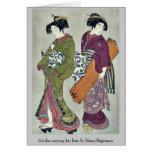 Geisha carrying her koto by Kitao,Shigemasa Greeting Card