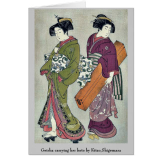 Geisha carrying her koto by Kitao,Shigemasa Card