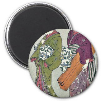 Geisha carrying her koto by Kitao,Shigemasa Refrigerator Magnet