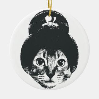 Geisha cat ceramic ornament