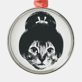 Geisha cat metal ornament