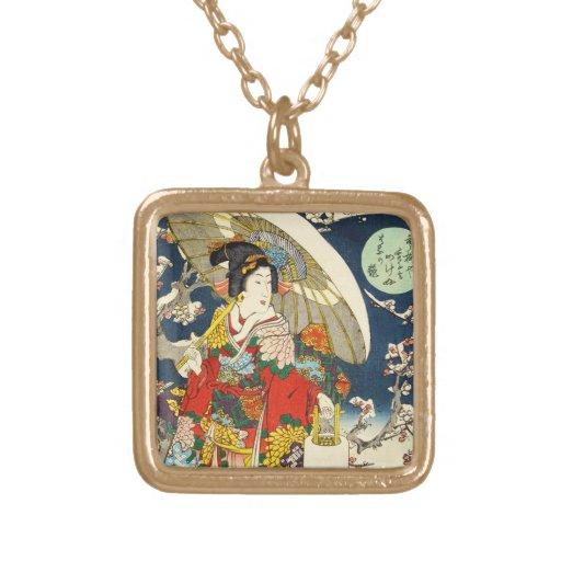 Geisha clásico del ukiyo-e del vintage con el para colgante cuadrado