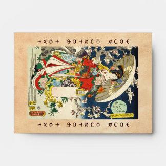 Geisha clásico del ukiyo-e del vintage con el para