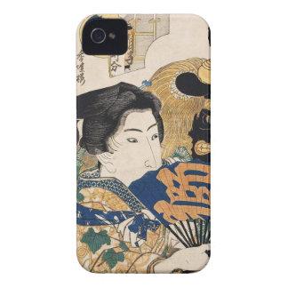 Geisha clásico del ukiyo-e del vintage con la fan iPhone 4 fundas