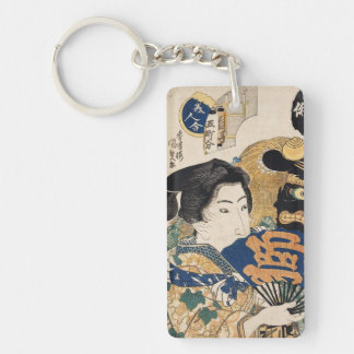 Geisha clásico del ukiyo-e del vintage con la fan  llavero rectangular acrílico a doble cara