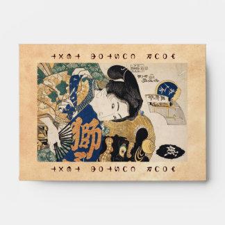Geisha clásico del ukiyo-e del vintage con la fan