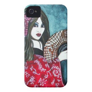 Geisha con la fan iPhone 4 Case-Mate fundas