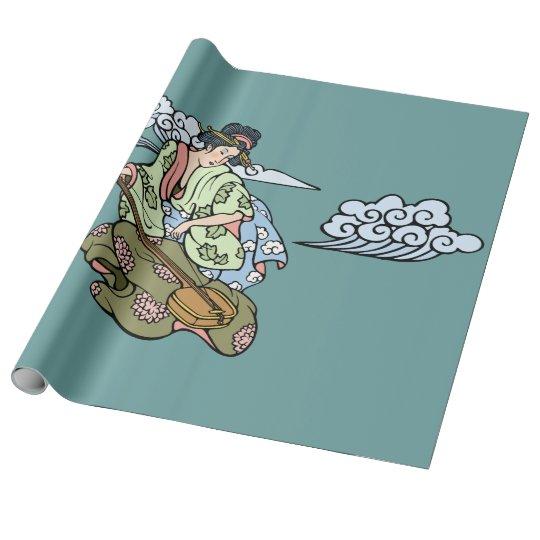 Geisha con las nubes papel de regalo