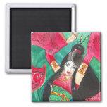 Geisha Dancer Magnet, Bellydance Dragon Art 2 Inch Square Magnet