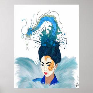 Geisha de la diosa de Otohime del mar Póster