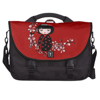 Geisha de la flor de cerezo bolsas para ordenador