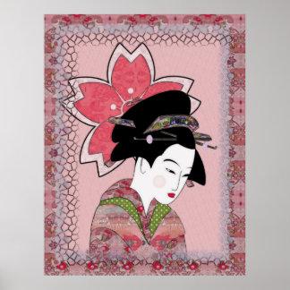 Geisha de la flor de cerezo impresiones