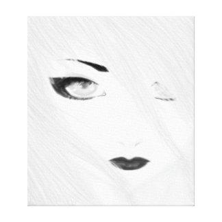 Geisha de la nieve blanco y negro lienzo envuelto para galerías