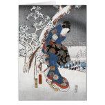 Geisha de la nieve - tarjetas de felicitación