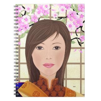 Geisha de Maiko con la flor de cerezo, cuaderno
