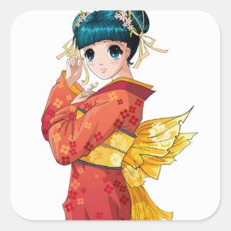 Geisha del animado pegatina cuadrada