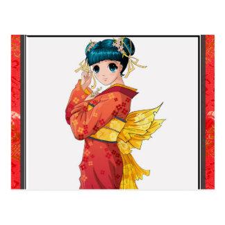 Geisha del animado tarjeta postal