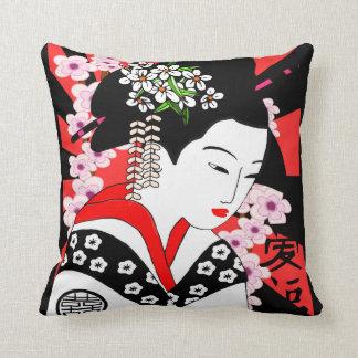 geisha del japonés del estilo del vintage cojín