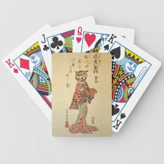 Geisha del tigre con el estampado de flores cartas de juego