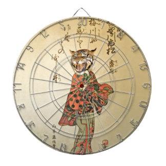 Geisha del tigre con el estampado de flores tablero dardos