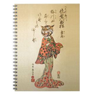 Geisha del tigre con el estampado de flores libreta