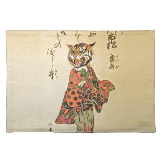 Geisha del tigre con el estampado de flores manteles individuales