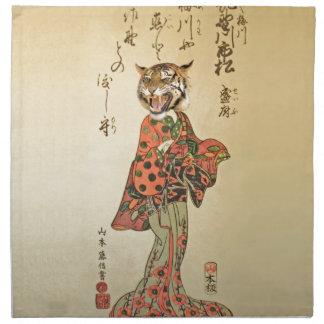 Geisha del tigre con el estampado de flores servilleta