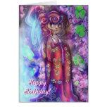 Geisha del trébol de la tarjeta de cumpleaños