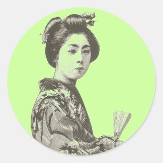Geisha del vintage pegatinas