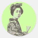 Geisha del vintage pegatinas redondas