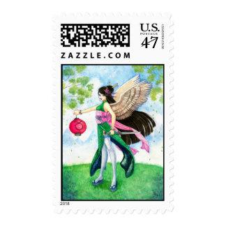 Geisha del zodiaco del tauro, arte asiático sello postal