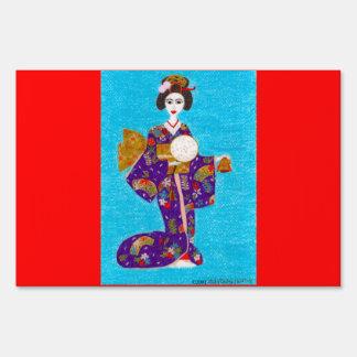 Geisha Doll Yard Signs