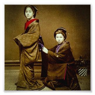 Geisha dos que ajusta un japonés del vintage del cojinete