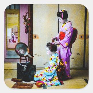 Geisha dos que hace japonés del vintage del pelo pegatina cuadrada