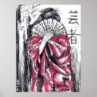 Geisha - el artista - impresión del arte poster