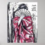 Geisha - el artista - impresión del arte póster