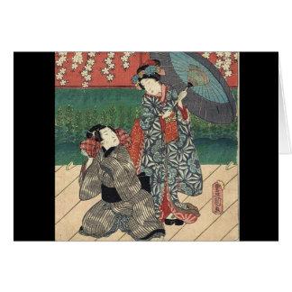 Geisha elegante del baile tarjeta de felicitación