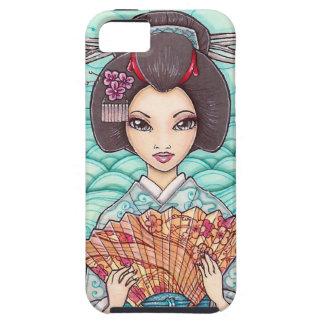 Geisha en caja azul del iPhone 5 del arte de iPhone 5 Carcasas