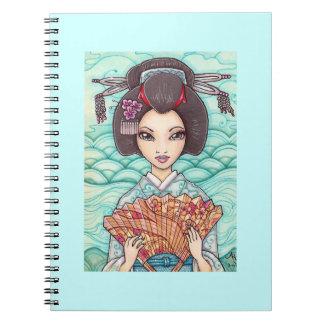 Geisha en cuaderno azul de la foto del kimono
