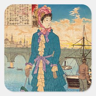 Geisha en el arte del oeste Ukiyo-E de Woodblock Pegatina Cuadrada