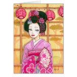 Geisha en tarjeta de nota rosada del espacio en bl