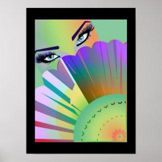 Geisha Fan Lady Poster