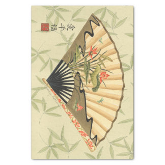 """Geisha Fan with Leaves and Floral Print 10"""" X 15"""" Tissue Paper"""