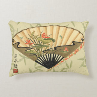 Geisha Fan with Leaves and Floral Print Accent Pillow