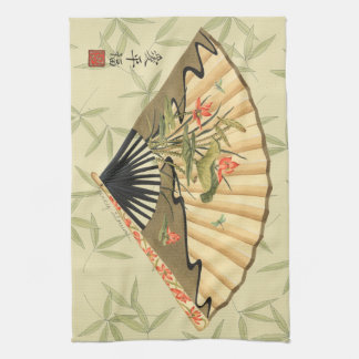 Geisha Fan with Leaves and Floral Print Hand Towel