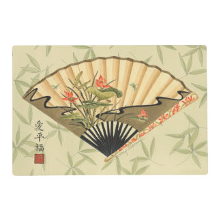 Geisha Fan with Leaves and Floral Print Placemat