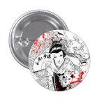 Geisha fresco de la salpicadura de la sangre con e pin redondo de 1 pulgada